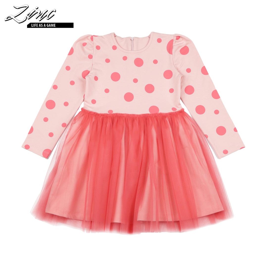 Детска рокля на точки с тюл в розово