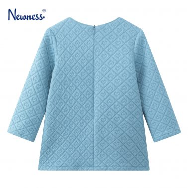 Детска гофрирана рокля на сърца в светло синьо