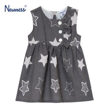 Детски сукман с принт на звезди в сиво