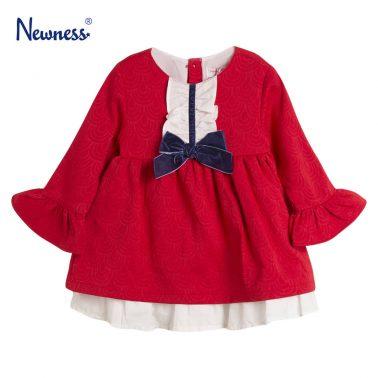 Детска официална рокля с жабо и панделка в червено