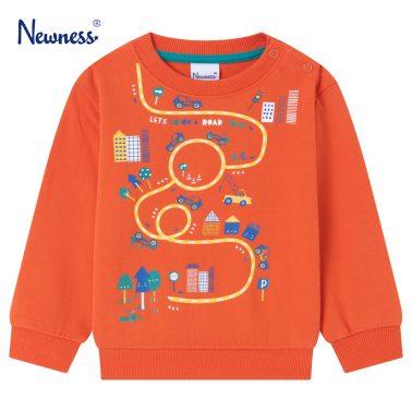 Детска ватирана блуза с щампа на автомобили в оранжево