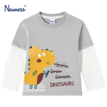 Детска блуза с двуцветни ръкави и щампа динозавър в сиво
