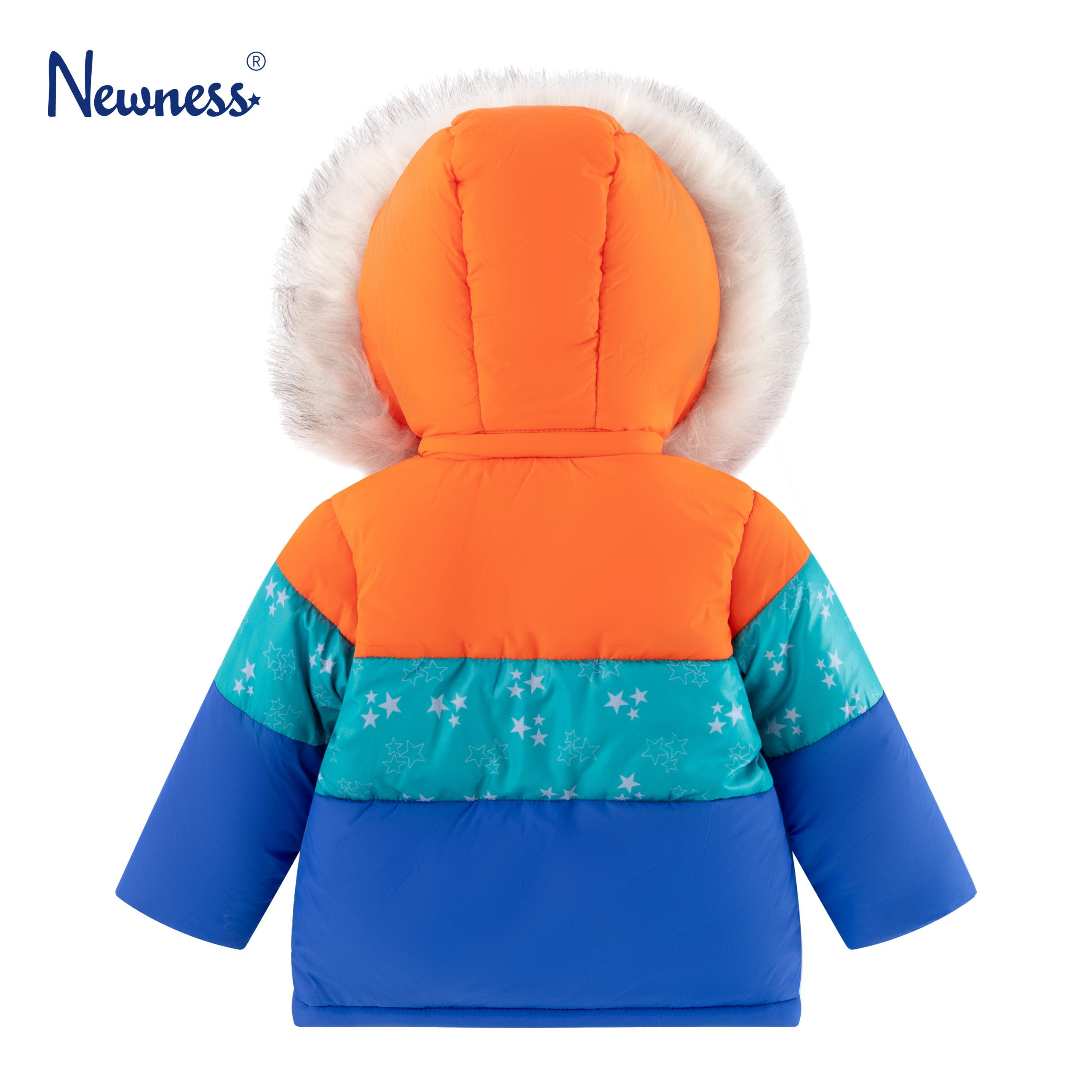 Детско зимно яке с качулка с пух в синьо