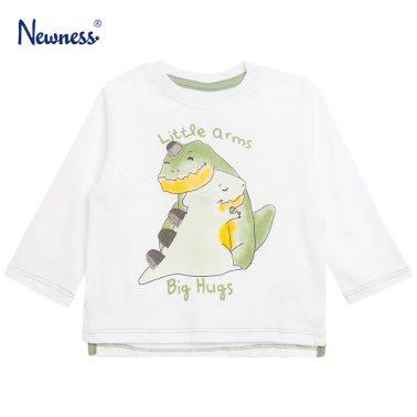 Детска блуза с щампа динозавър в бяло