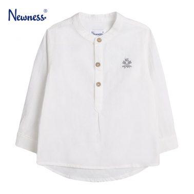 Детска риза с копчета и бродерия в бяло