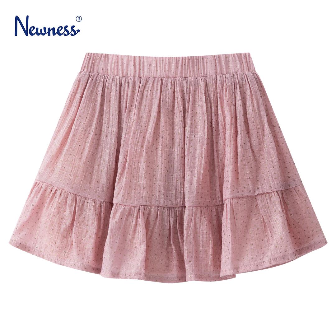 Детска пола с волан и блестящи звездички в розово
