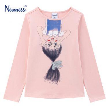 Детска блуза с щампа момиче с поничка в розово