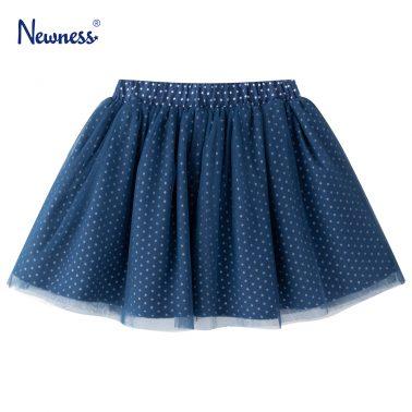Детска пола на точки с тюл в синьо