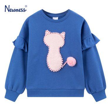 Детска ватирана блуза с пухкаво котенце в синьо