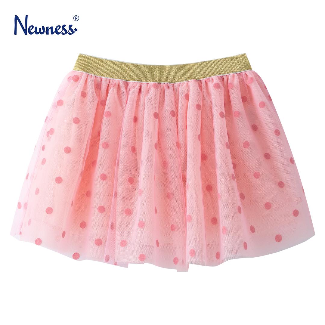Детска пола с тюл на точки и ефектен ластик в розово