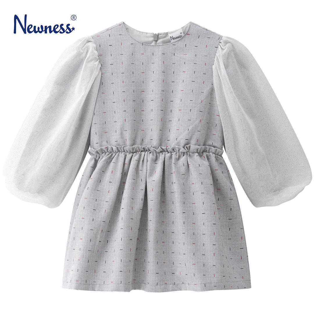 Детска рокля елегантна с ръкави от тюл с брокат в сиво