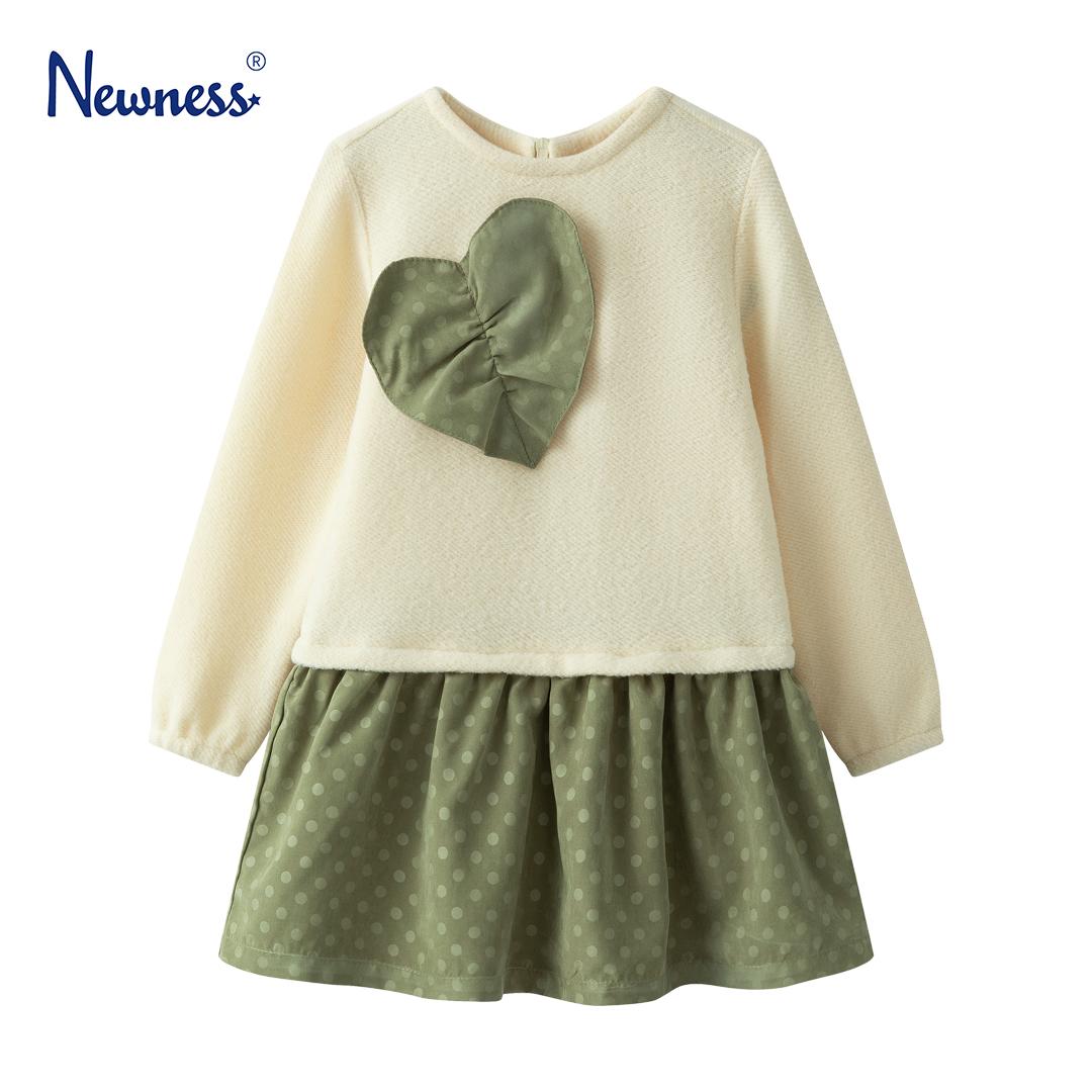 Детска рокля със сърце в зелено