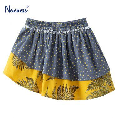 Детска асиметрична пола с два принта в жълто