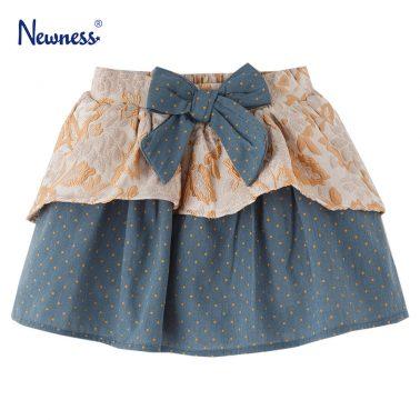 Детска официална пола с панделка в синьо