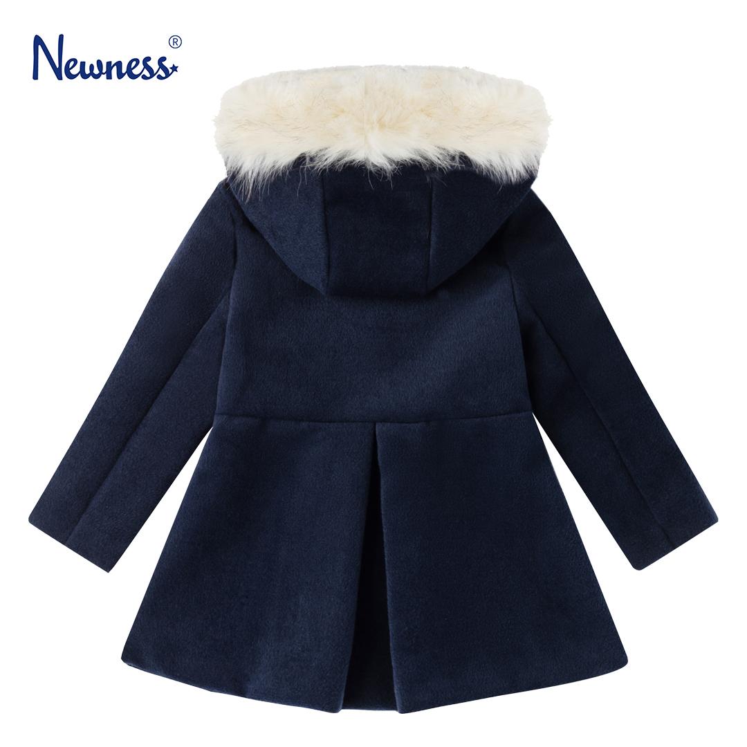 Детско палто с качулка с пух в тъмно синьо