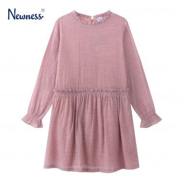 Детска рокля със златни звездички и набор на яката в розово