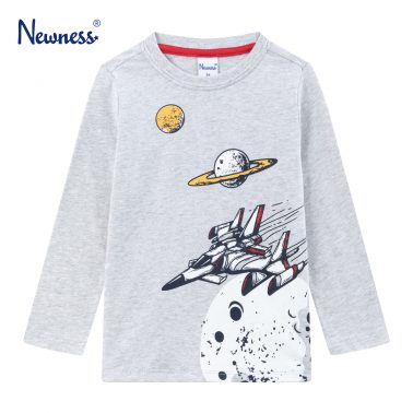 Детска блуза с щампа на планети и космически кораб в сиво