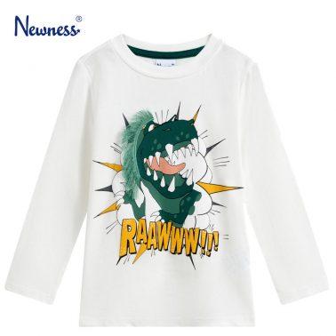 Детска блуза с щампа на динозавър в бяло