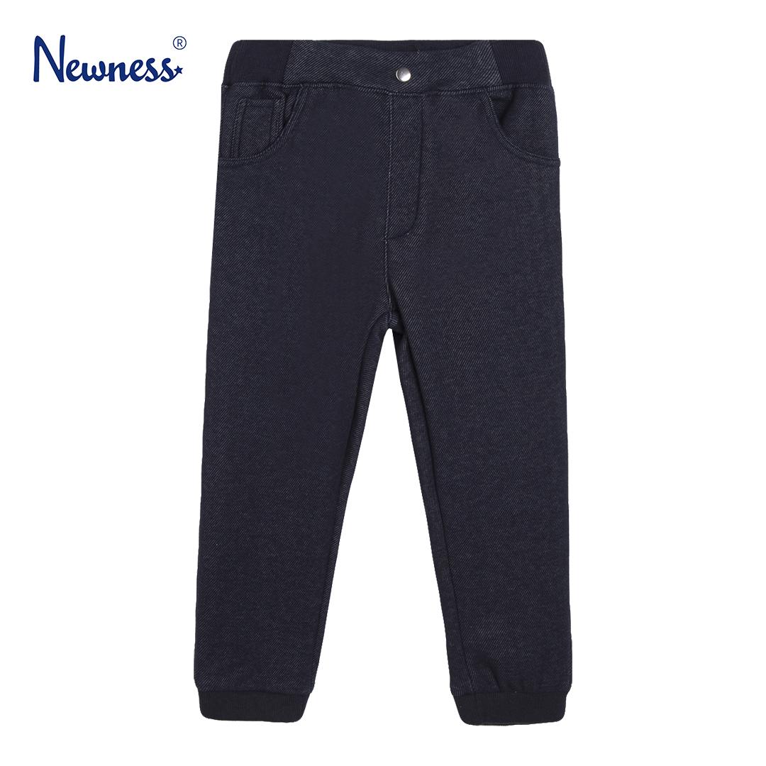 Детски ватиран панталон спортен с ефект дънки в тъмно синьо