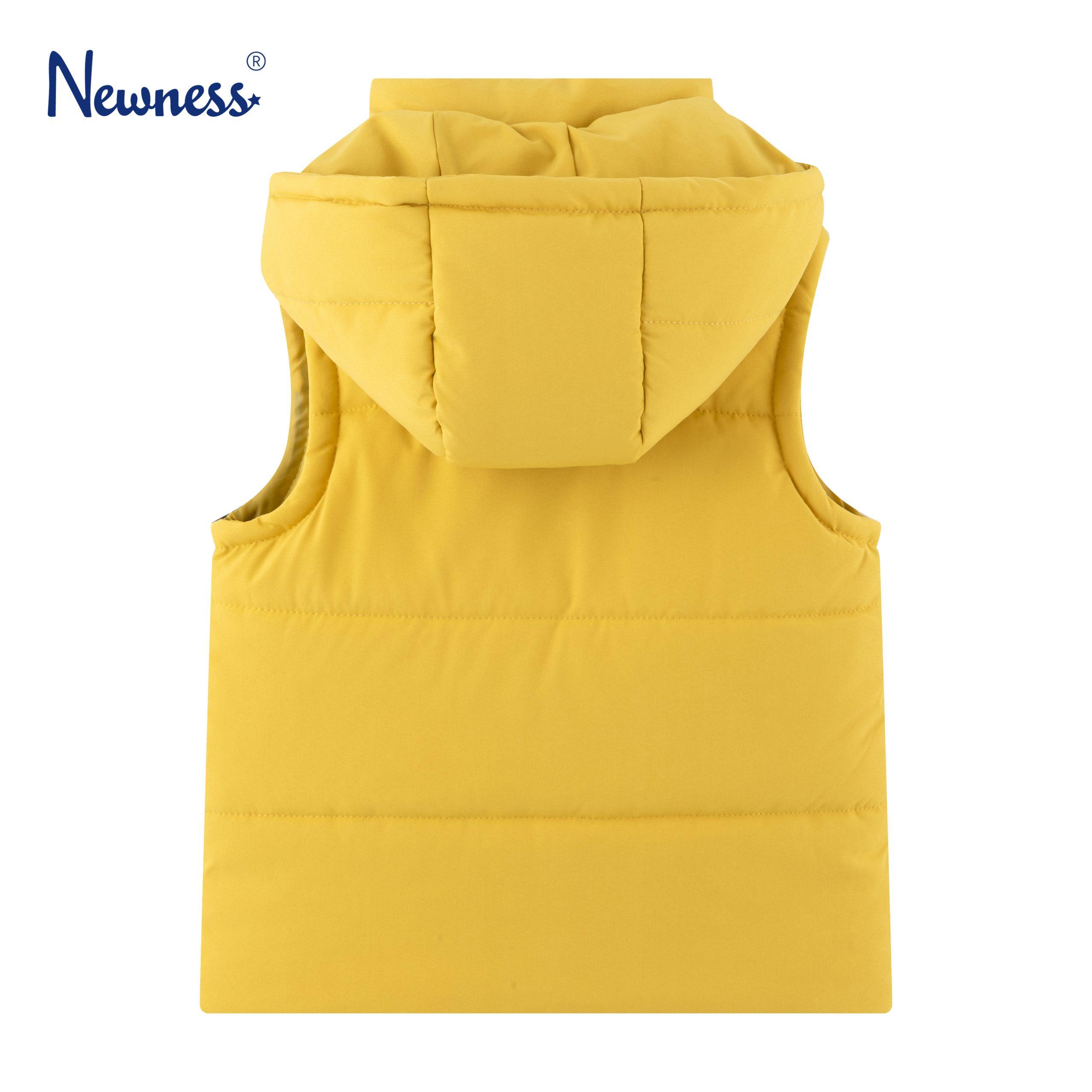 Детски ватиран елек с подвижна качулка в жълто
