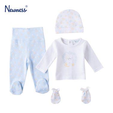 Бебешки комплект от 4 части на лапички и с щампа коте в бяло