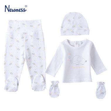 Бебешки комплект от 4 части с принт на слончета в бяло