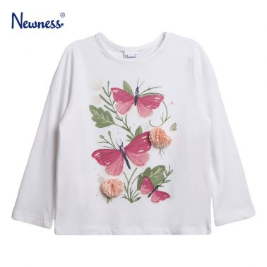 Детска блуза с щампа пеперуди и релефни цветя в бяло
