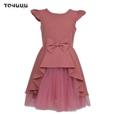 Детска рокля с пеплум и тюл в тъмно розово