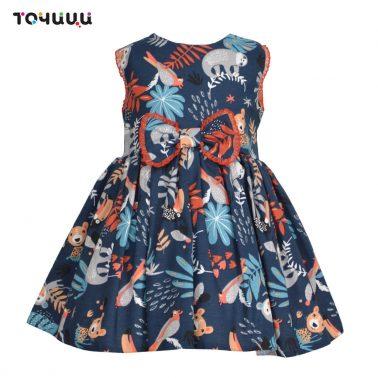 Детска рокля с принт на животни и панделка в синьо