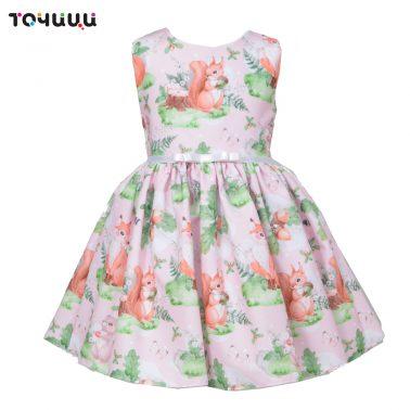 Детска рокля с принт на животни и подарък диадема в розово