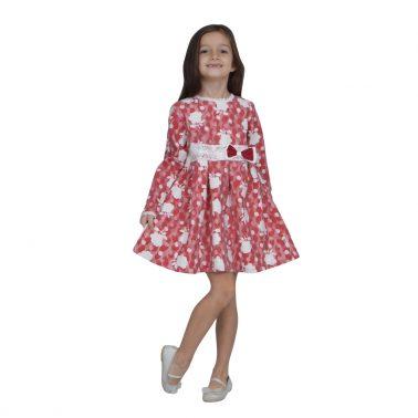 Детска официална рокля с дантелен колан и панделка в червено