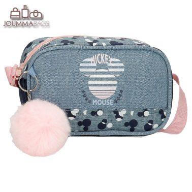 Малка детска чантичка с дълга дръжка и пухче Мики Маус