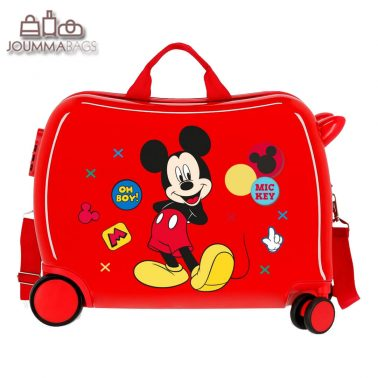 Детски куфар возилка Мики Маус в червено