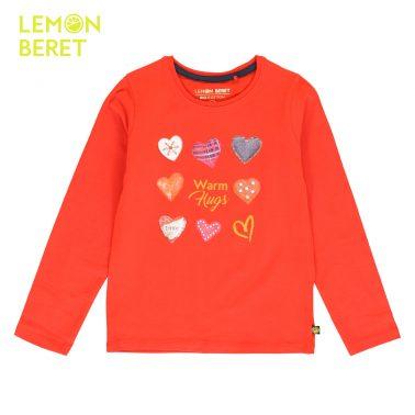 Блуза с дълъг ръкав и щампа на сърца в червено