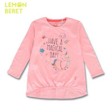 Детска блуза с дълъг ръкав и щампа с надпис и еднорог в розово