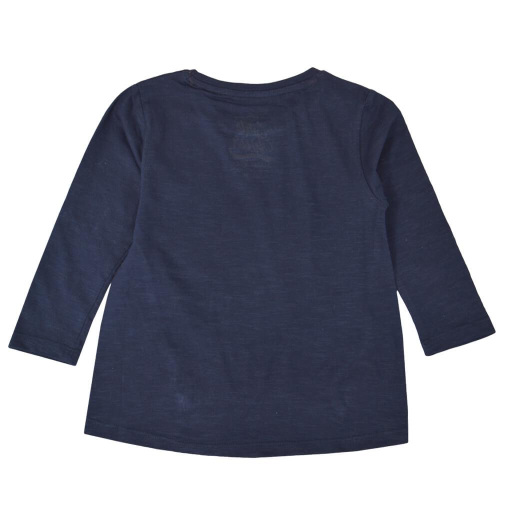 Детска блуза с дълъг ръкав и щампа с надпис и еднорог в тъмно синьо