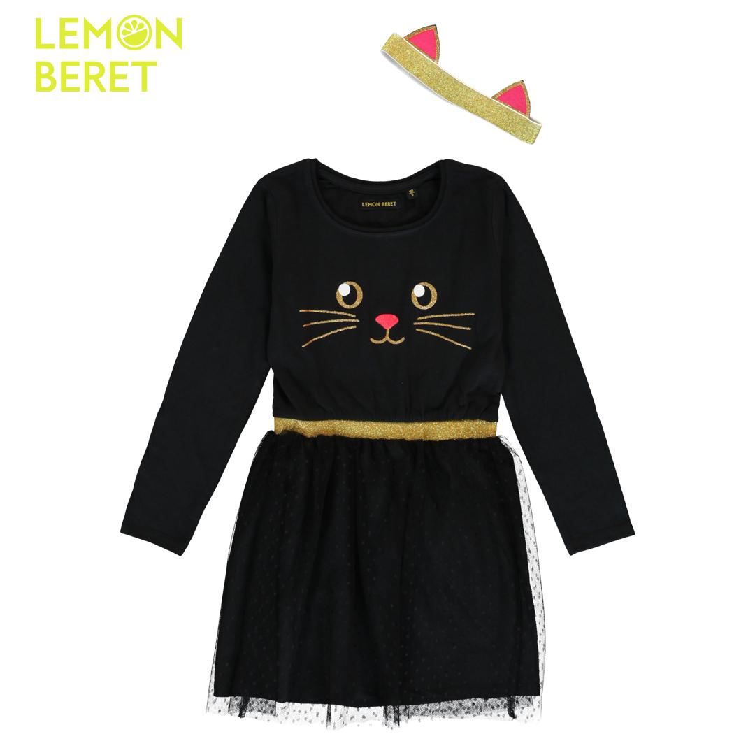 Детска рокля с тюлена пола и котешка муцуна с подарък лента за глава с ушички в черно