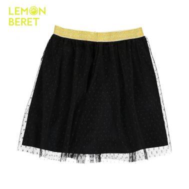 Детска пола с тюл и златен ластик в черно