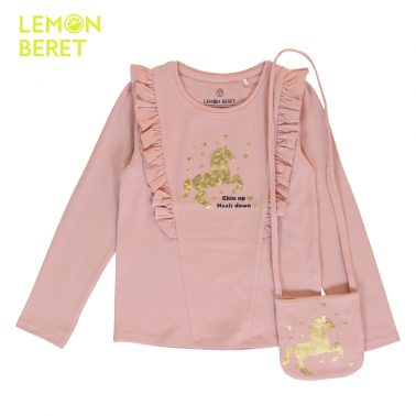 Детска блуза с щампа конче и подарък чантичка в розово