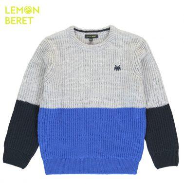 Детски пуловер плетен в сиво