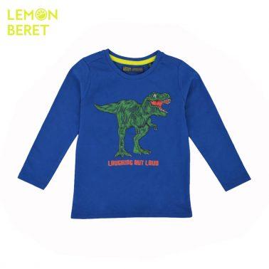 Детска блуза с щампа динозавър и издаваща звуци в синьо