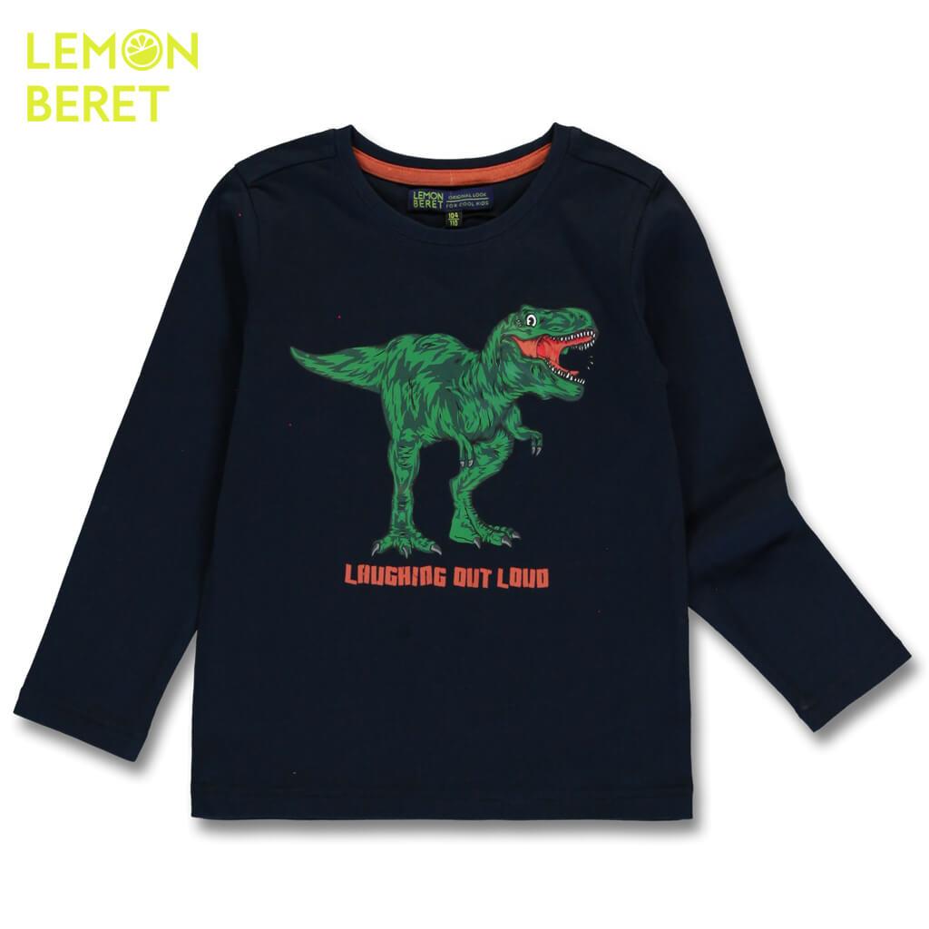 Детска блуза с щампа динозавър и издаваща звуци в тъмно синьо