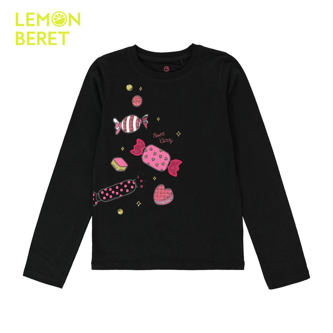 Детска блуза с дълъг ръкав и щампа на бонбони в черно