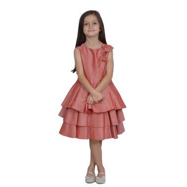 Детска рокля с воали и панделка в цвят диня