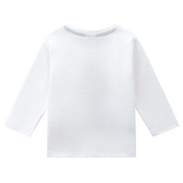 Детска блуза с дълъг ръкав и щампа на мече с ракета в бяло