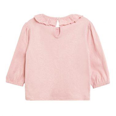 Детска блуза с щампа на сърчица и яка с набор в розово
