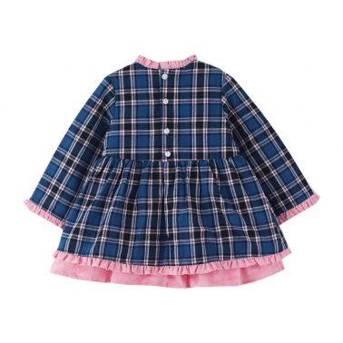 Детска официална рокля с къдри и панделка в синьо