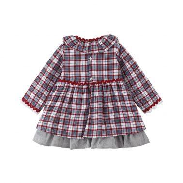 Официална детска рокля каре с панделки в сиво