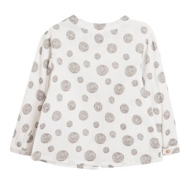 Детска риза с абстрактен десен в бяло