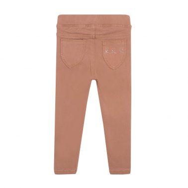 Детски панталон тип дънки с ластик на талията в цвят карамел